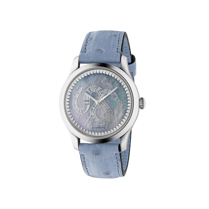 Gucci G-Timeless 38mm Snake Mother of Pearl Watch face