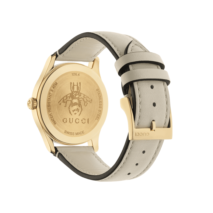 Gucci G-Timeless 38mm Yellow Gold and Nylon Bee Watch angle