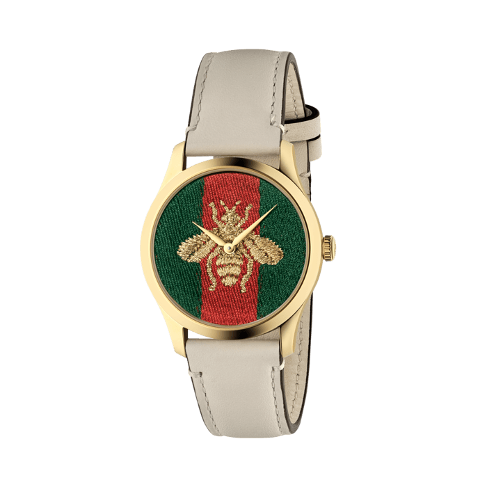 Gucci G-Timeless 38mm Yellow Gold and Nylon Bee Watch face