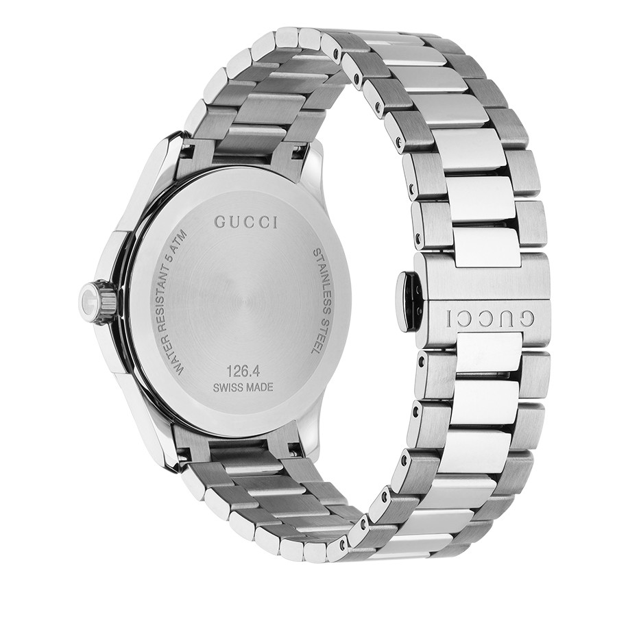 Gucci Stainless Steel Black Dial & Diamond Marker G-Timeless Watch