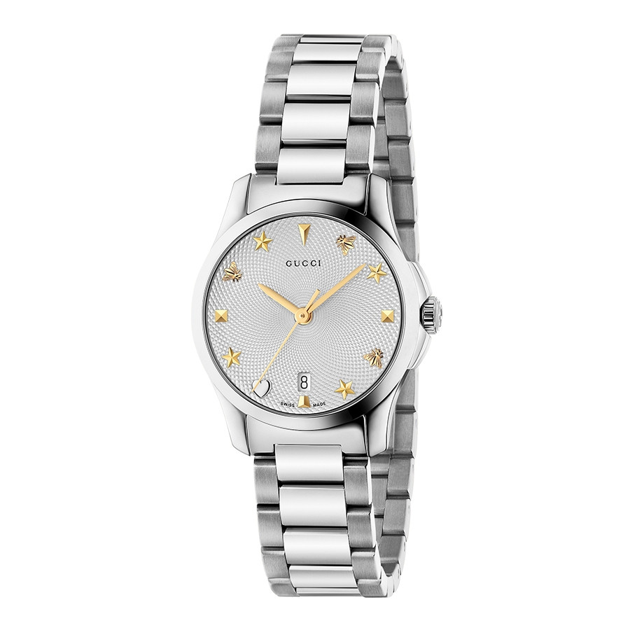 G-Timeless Two-Tone 27mm House Motif Gucci Dial Watch