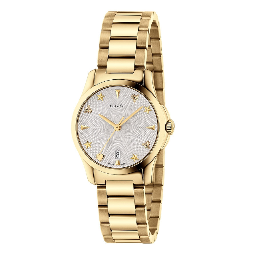 Gucci G-Timeless 27mm Yellow Gold & Silver Dial Watch