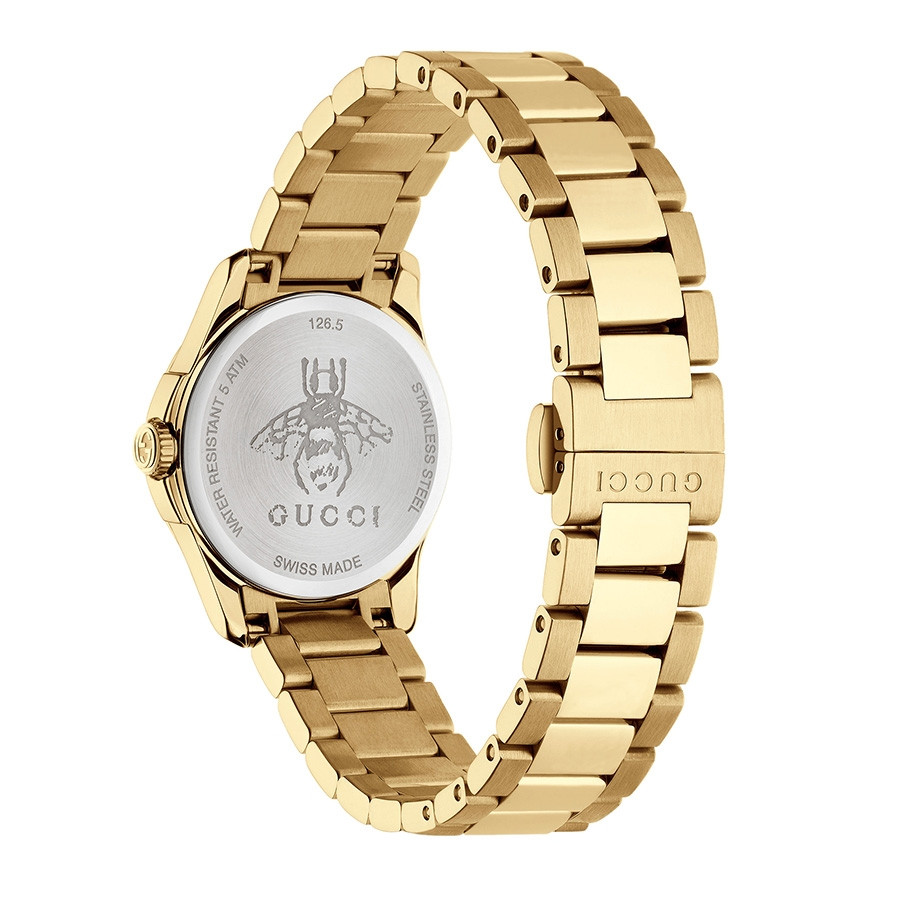 Gucci G-Timeless 27mm Yellow Gold & Silver Dial Watch Angle View
