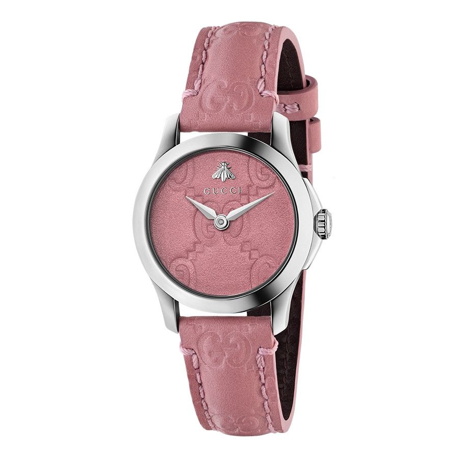 Gucci Signature 27mm Stainless Steel G-Timeless Pink Dial Watch