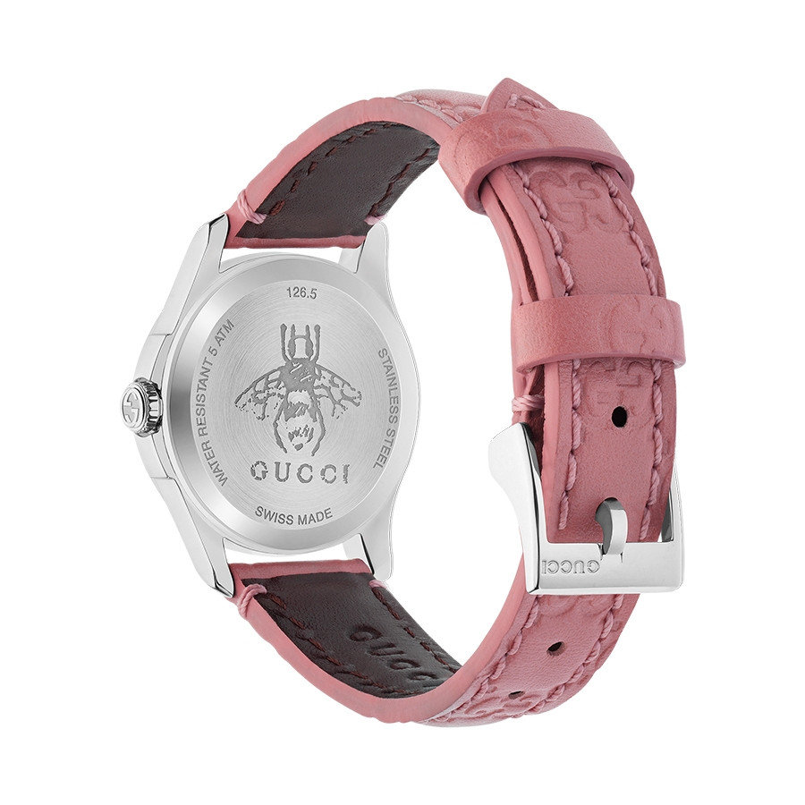 Gucci Signature 27mm Stainless Steel G-Timeless Pink Dial Watch Angle View