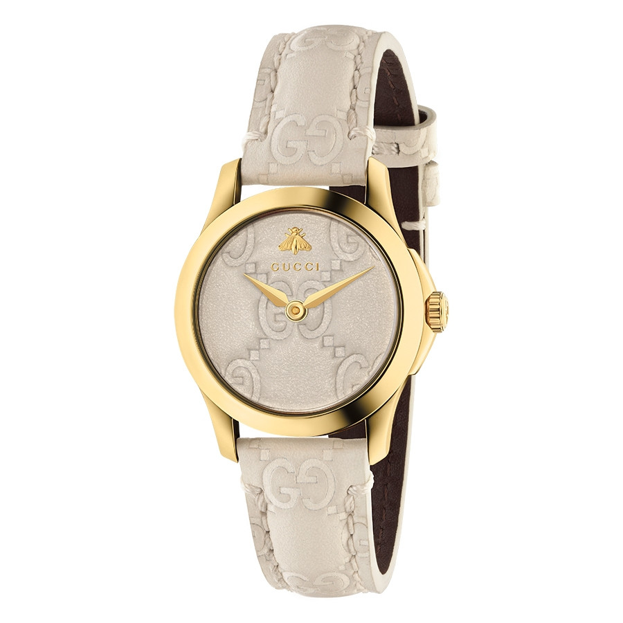 Gucci Signature 27mm Yellow Gold White G-Timeless Dial Watch