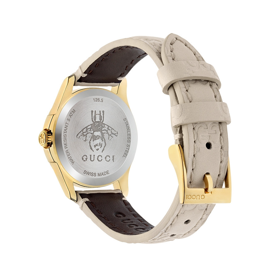 Gucci Signature 27mm Yellow Gold White G-Timeless Dial Watch Angle View