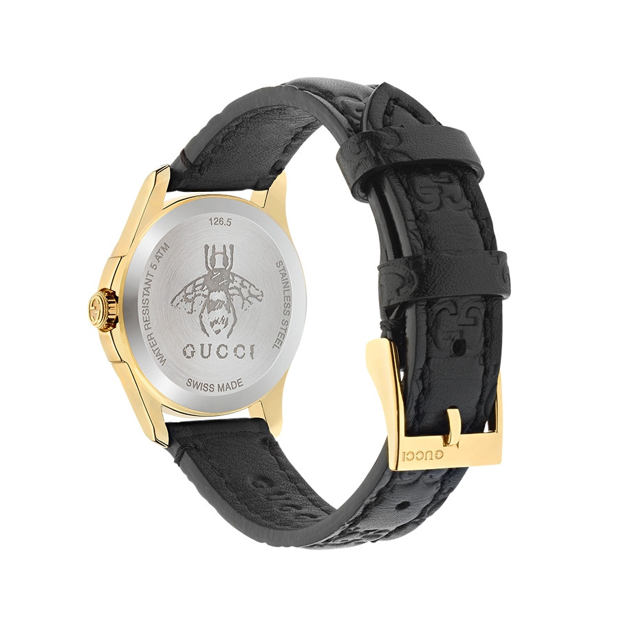 Gucci Signature 27mm Yellow Gold Black G-Timeless Dial Watch Angle View