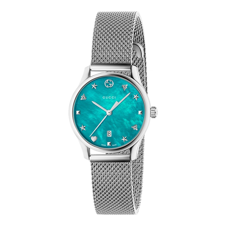 Gucci 29mm Stainless Steel G-Timeless Slim Turquoise Mother of Pearl Watch