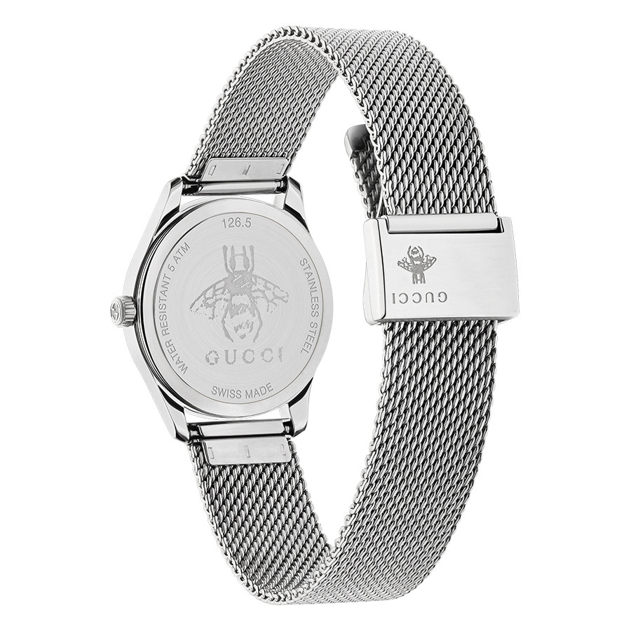 Gucci 29mm Stainless Steel G-Timeless Slim Turquoise Mother of Pearl Watch Angle View