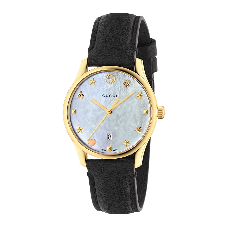 G-Timeless Slim 29mm Yellow Gold Mother of Pearl House Motif Gucci Dial Watch