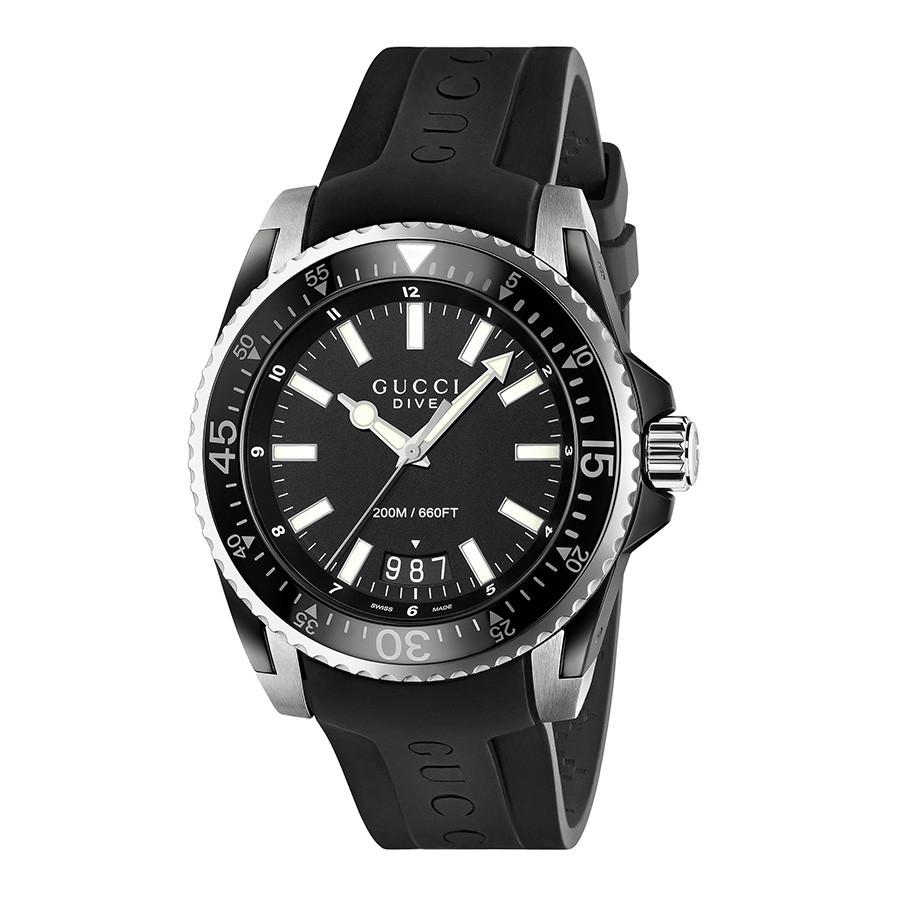 Gucci 45mm Matte Black Dial Dive Watch