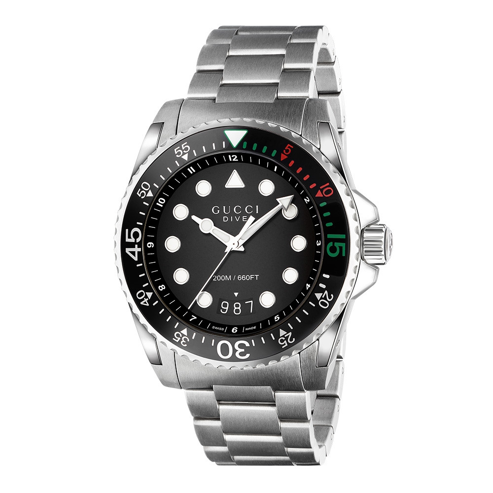 Gucci XL 45mm Stainless Steel Black Dial Dive Watch