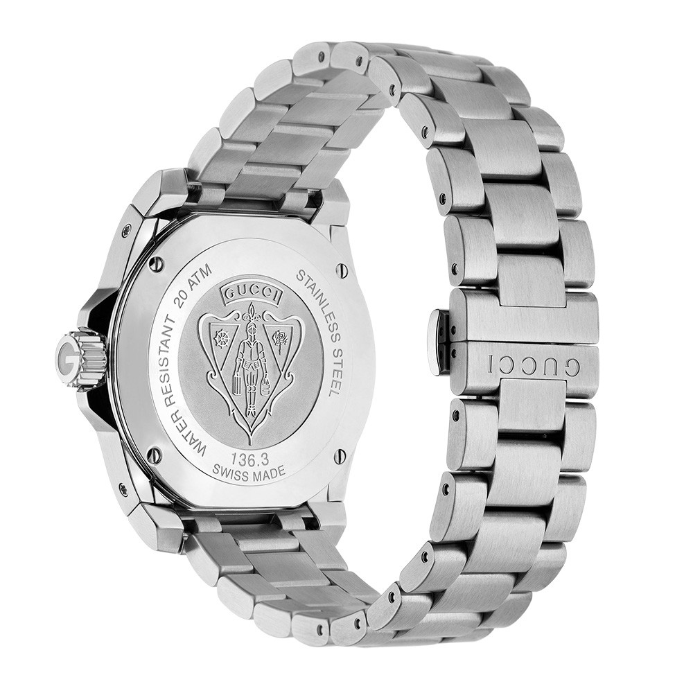 Gucci 40mm Stainless Steel Matte Black Dive Dial Watch