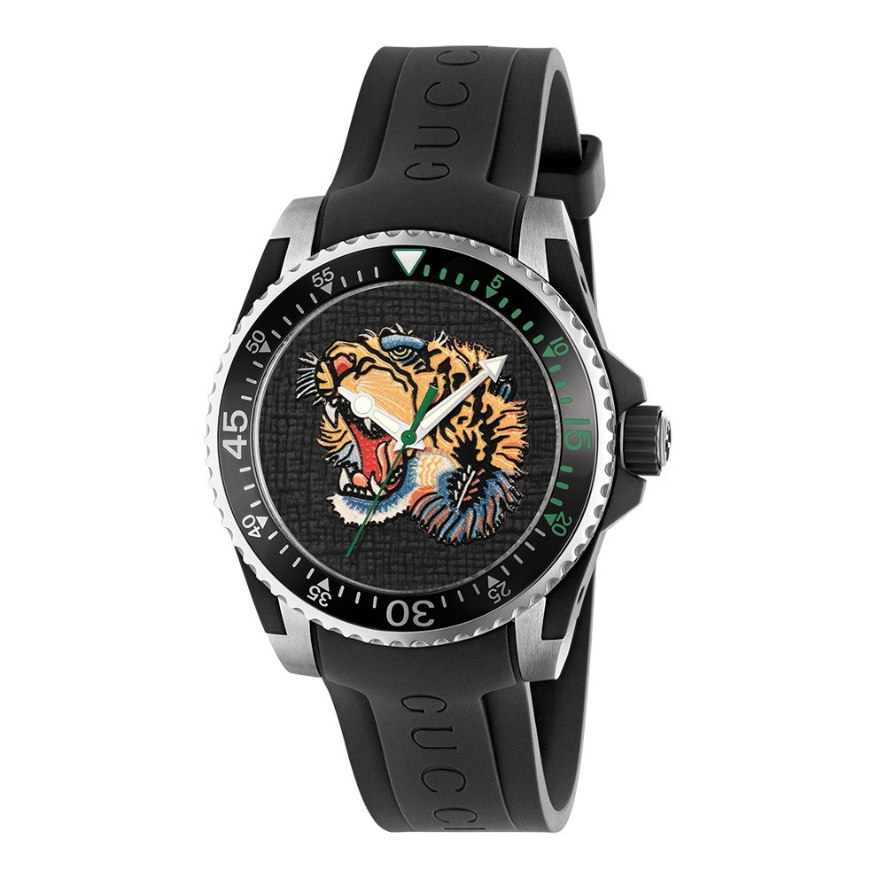 Gucci 40mm Stainless Steel Embroidered Tiger Head Dive Black Watch