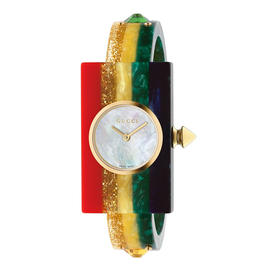 Gucci Rainbow Vintage Web White Mother of Pearl Dial Watch