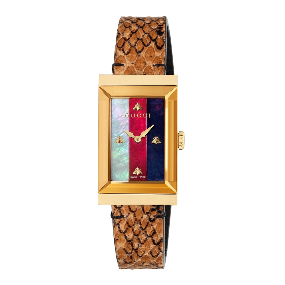 Gucci Yellow Gold Cream, Red & Blue Mother of Pearl G-Frame Watch
