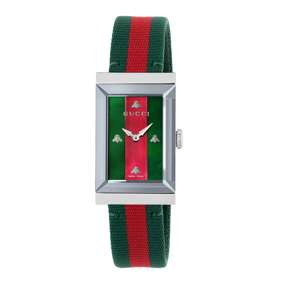 Gucci Stainless Steel Green & Red Mother of Pearl Nylon G-Frame Watch