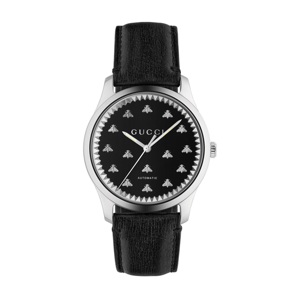 Gucci G-Timeless Black Dial 42mm Steel Watch Face Image