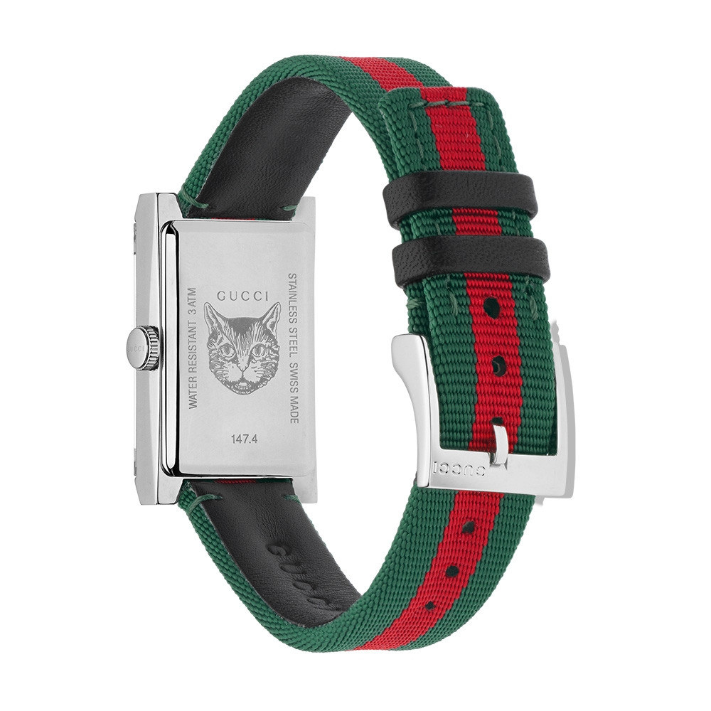 Gucci Stainless Steel Green & Red Mother of Pearl Nylon G-Frame Watch Angle View