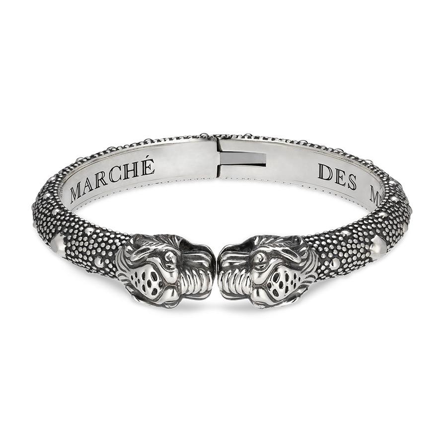 "Gucci 8"" Double Tiger Head Cuff Bracelet"