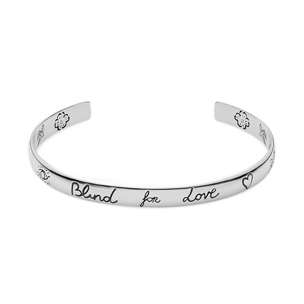 Gucci Extra Small Blind For Love Silver Bangle Bracelet