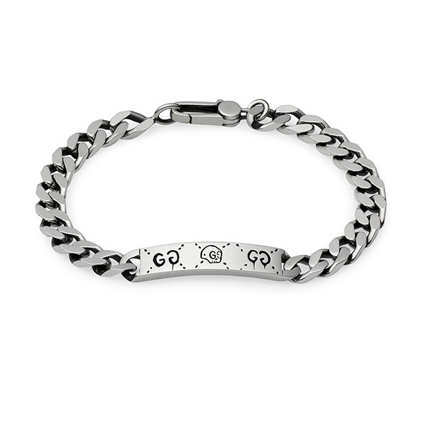 Gucci Ghost Station Extra Small Silver Link ID Bracelet