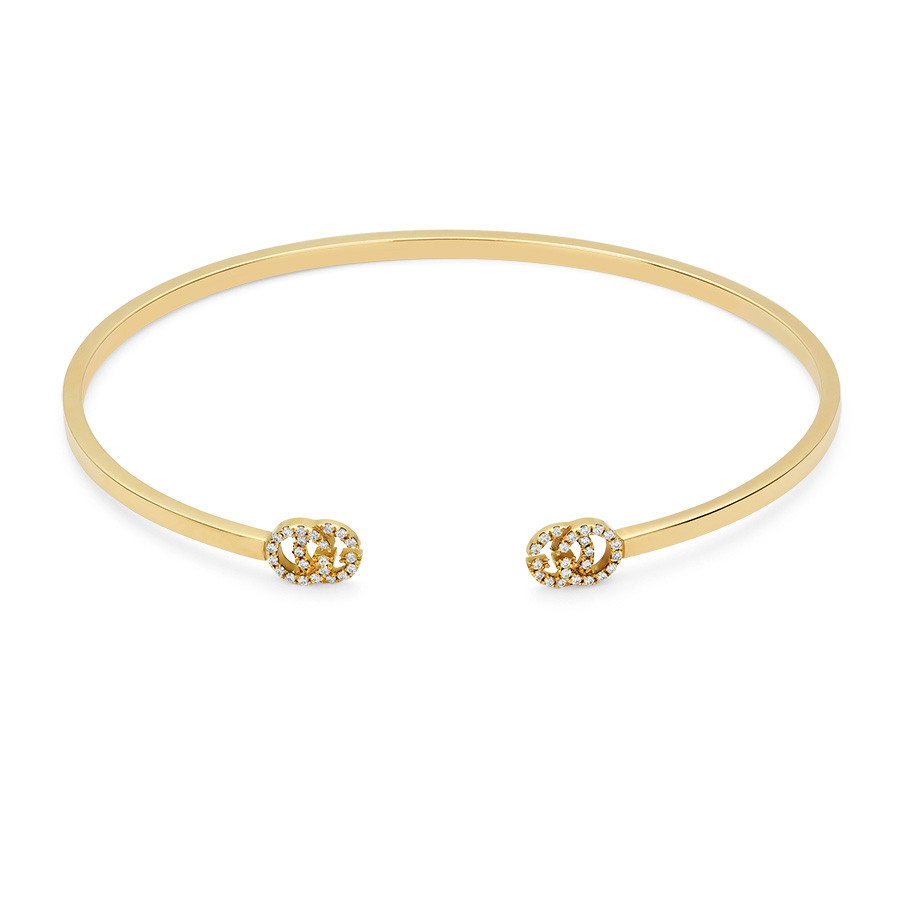 Gucci Running G Yellow Gold Diamond Cuff Bracelet