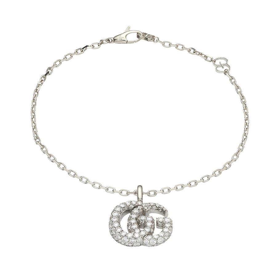 "Gucci 6.5"" White Gold GG Running Pave Diamond Double G Charm Bracelet"