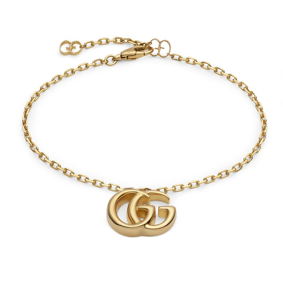 "Gucci 7"" Yellow Gold GG Running Double G Charm Bracelet"