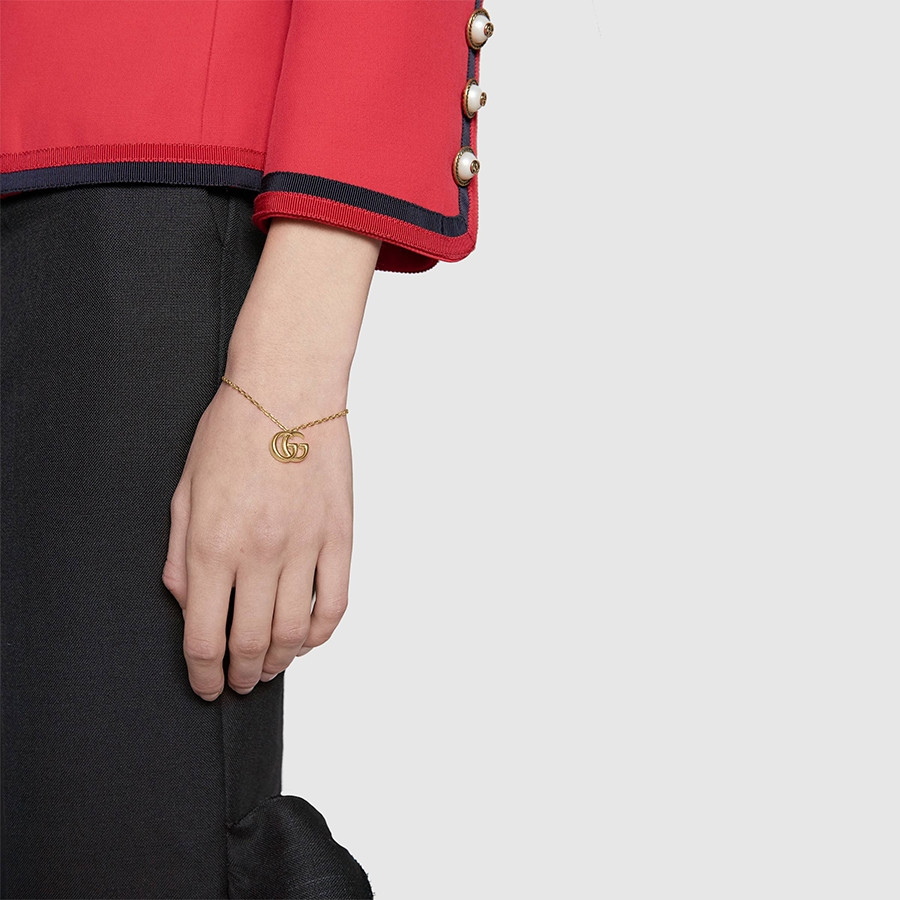 Gucci Yellow Gold GG Running Double G Charm Bracelet on Model