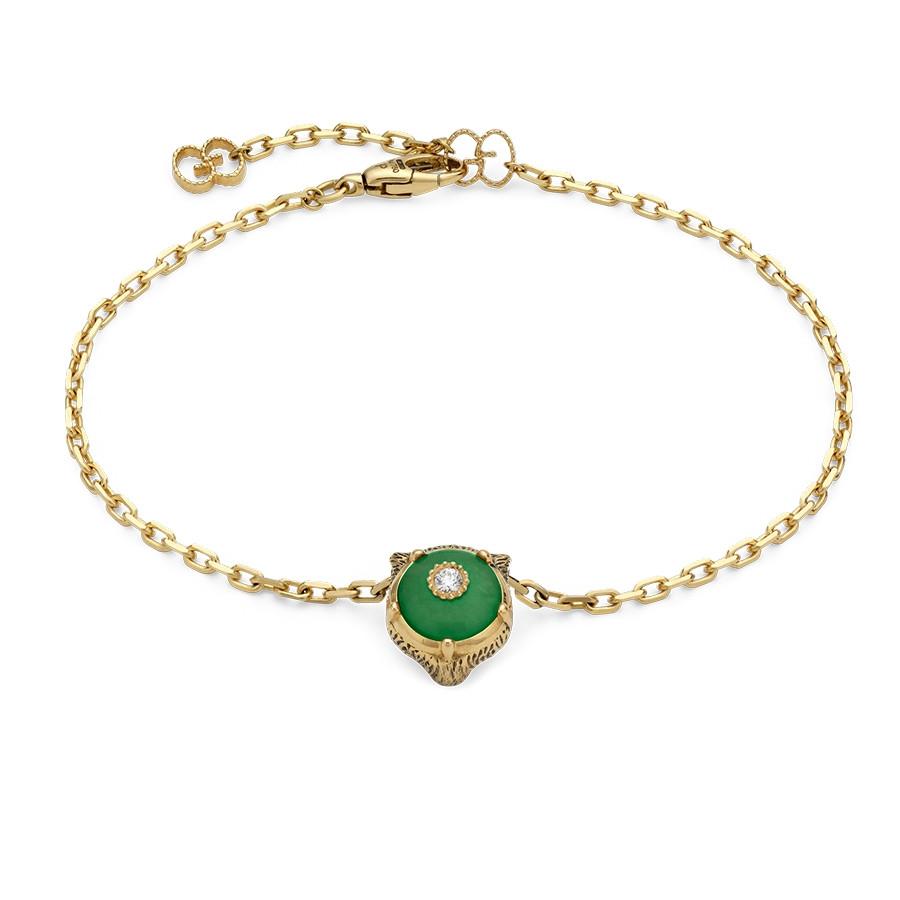 """Gucci 6.5"""" Jade & Diamond Feline Head Charm Le Marche des Merveilles Bracelet"""