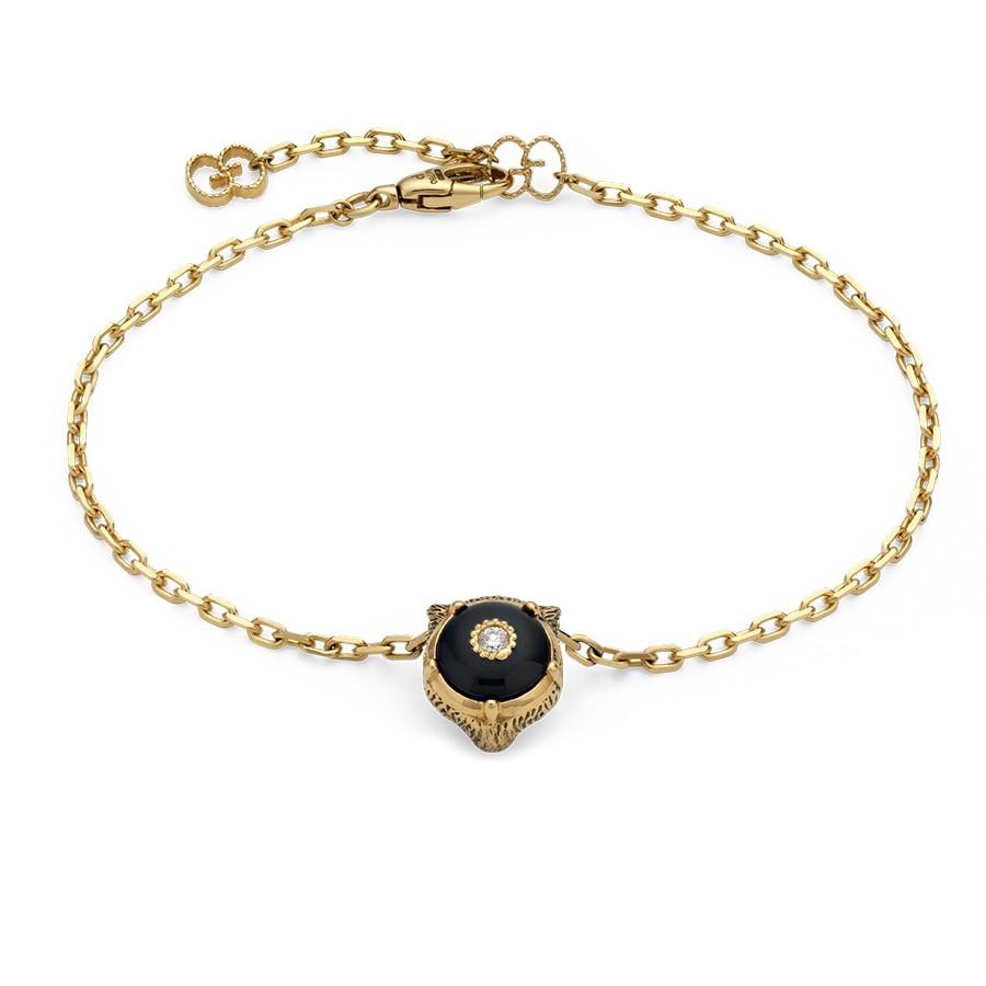 Gucci Black Onyx & Diamond Feline Head Charm Le Marche des Merveilles Bracelet