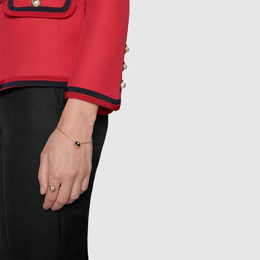 Gucci Black Onyx & Diamond Feline Head Charm Le Marche des Merveilles Bracelet on Model
