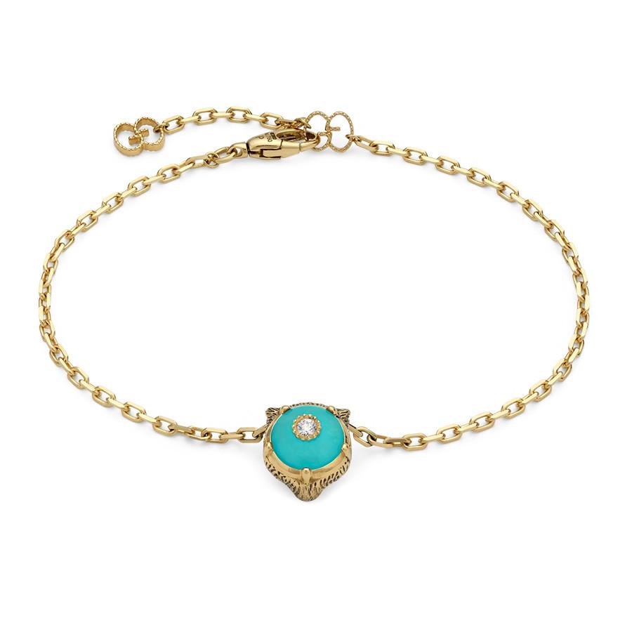 Gucci Le Marche des Merveilles Tiger Head Turquoise Diamond Station Bracelet