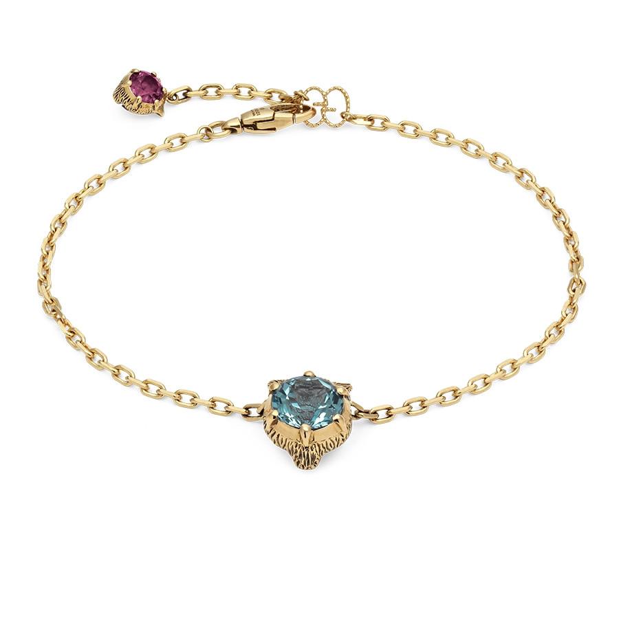 """Gucci 7"""" Aquamarine Feline Head Charm Le Marche des Merveilles Bracelet"""