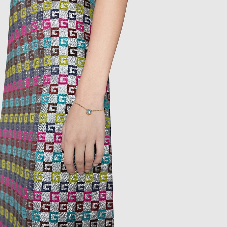 Gucci Aquamarine Feline Head Charm Le Marche des Merveilles Bracelet on Model