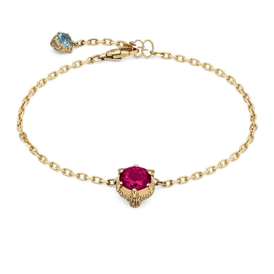 Gucci Pink Tourmaline Feline Head Charm Le Marche des Merveilles Bracelet