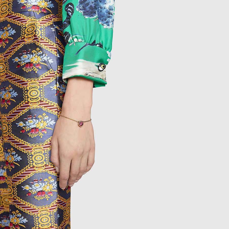 Gucci Pink Tourmaline Feline Head Charm Le Marche des Merveilles Bracelet on Model