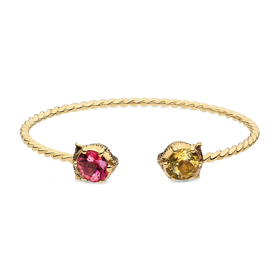 "Gucci Yellow Gold 7"" Pink Tourmaline & Yellow Beryl Feline Head Bangle Bracelet"