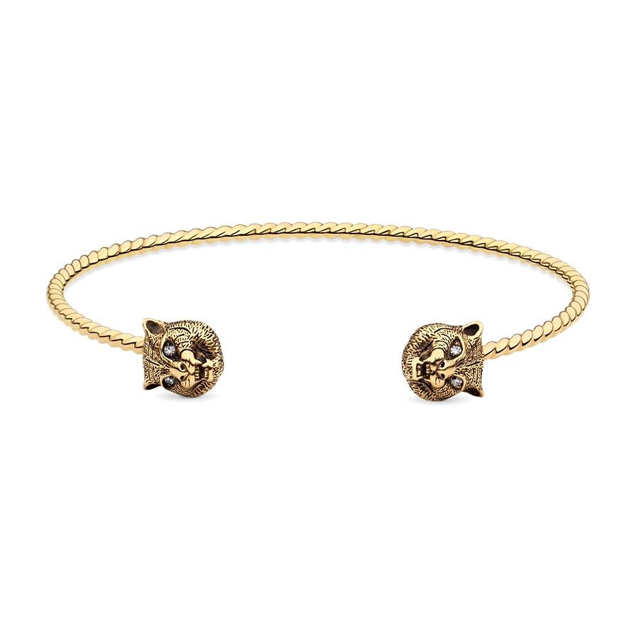 Gucci Yellow Gold Le Marche des Merveilles Tiger Head Cuff Bracelet