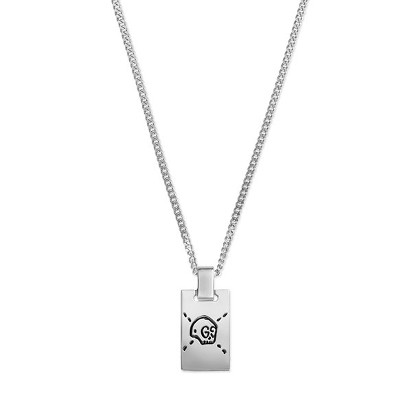 Gucci Ghost Dog Tag Chain Pendant Necklace