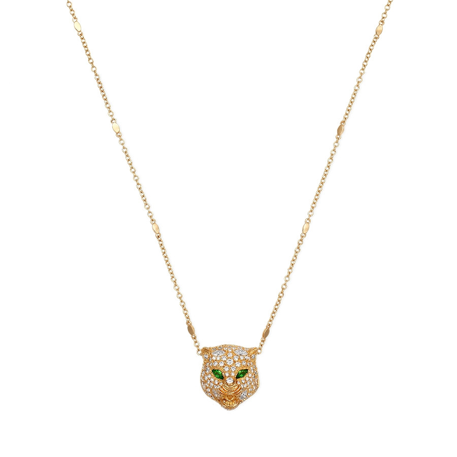 Gucci Tsavorite & Diamond Feline Head Pendant Le Marche des Merveilles Necklace