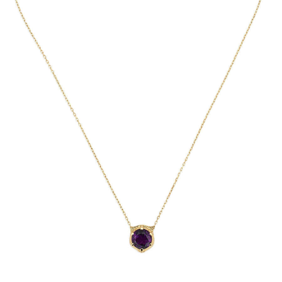Gucci Amethyst Feline Head Pendant Le Marche des Merveilles Necklace Front Close Up