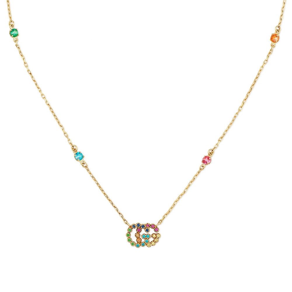 Gucci GG Running Yellow Gold Mixed Gemstone Station Necklace