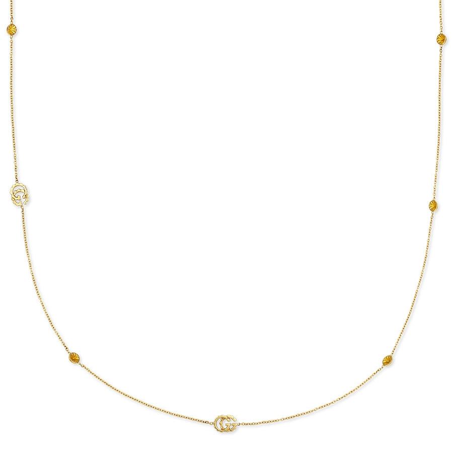Gucci GG Running Double G Yellow Gold Station Necklace