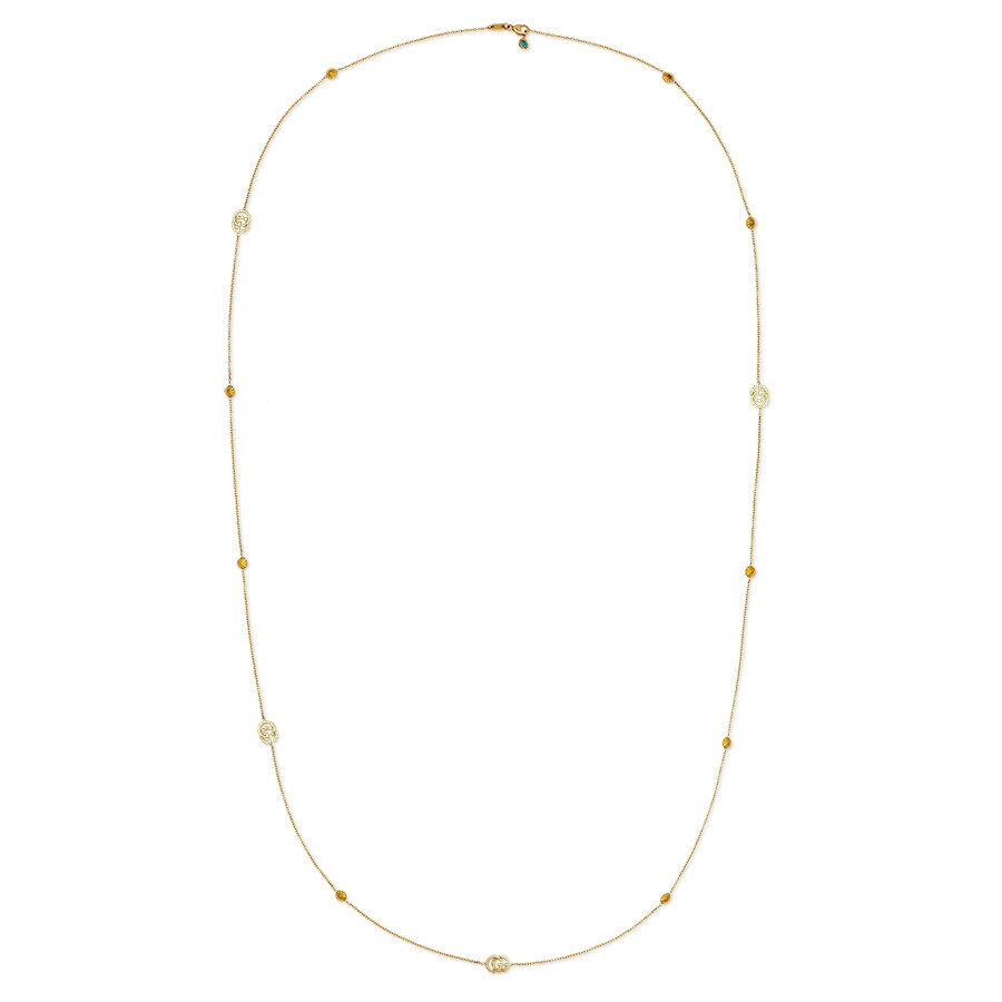 Gucci GG Running Double G Yellow Gold Station Necklace Full View
