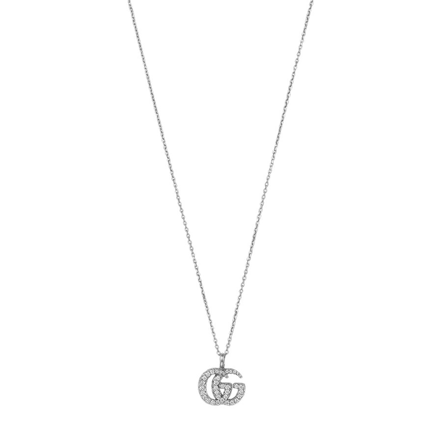 Gucci White Gold GG Running Small Diamond Double G Pendant Necklace