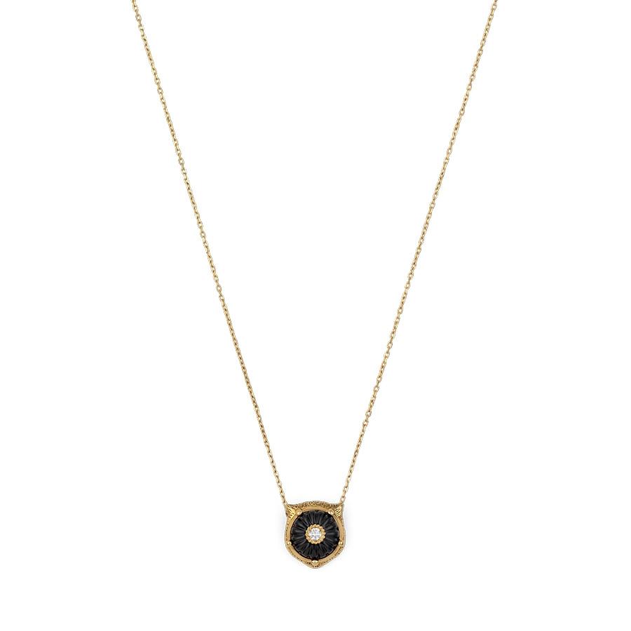 Gucci Carved Black Onyx & Diamond Feline Head Pendant Le Marche des Merveilles Necklace