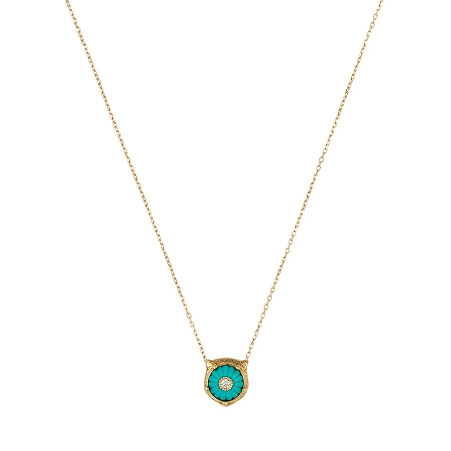 Gucci Carved Turquoise & Diamond Feline Head Pendant Le Marche des Merveilles Necklace